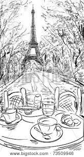street in autumn paris eiffel tower sketch illustration image