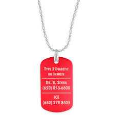 engraved dog tag necklace personalized aluminum diabetes dog tag necklace with free