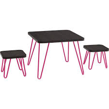 Bathroom Chairs And Stools Betty Retro Style Kids Table And Stools Set Espresso Pink