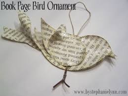 recycled book page bird ornament no 2 bystephanielynn