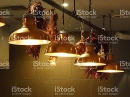 Copper Kitchen Light Fixtures Image Of Stylish Hanging Copper Kitchen Lamps Lights In Row Stock