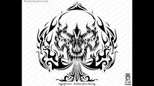 tribal skull spade custom designs free designs jpg
