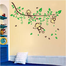 monkey swing tree wall sticker decals kids nursery baby decor