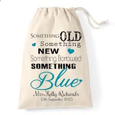 something new something something blue something borrowed small personalised drawstring bag something new borrowed and