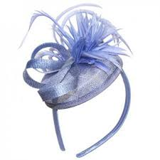 cornflower blue distinctive fascinator with feather and loops cornflower blue