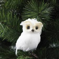 smith midnight clear white feather owl ornament