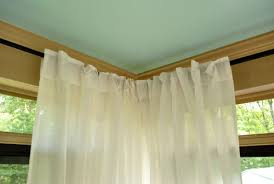Curtains Corner Windows Ideas How To Hang Corner Curtain Rods Painting The Ceiling Blue