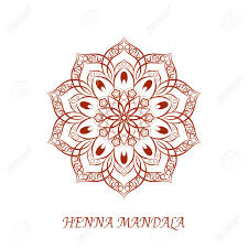 henna invitation henna color flower mandala white background element for your