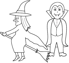 halloween witch printables witch with vampire coloring page halloween