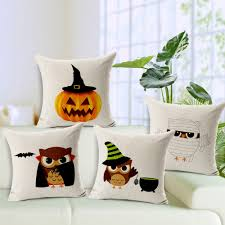 halloween gift pumpkin owl cushion cover 45 45cm cotton linen