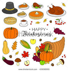 items thanksgiving day celebration stock vector