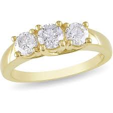 gold 1 carat engagement rings 1 carat t w three engagement ring in 14kt yellow