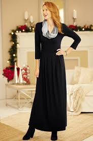 3 4 sleeve empire pleat knit dress classic women u0027s clothing from