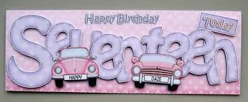 17th birthday large dl card n 3d decoupage photo by
