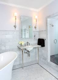 bathrooms with freestanding tubs bathroom classical bathroom idea with carrara marble wainscoting