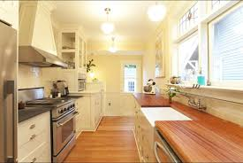 kitchen style galley kitchen ideas butcher block countertop light