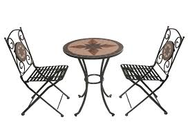 tavoli sedie set tavolo mosaico da giardino con 2 sedie pieghevoli in ferro