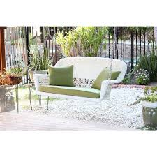 White Resin Wicker Loveseat White Resin Wicker Porch Swing With Cushions Free Shipping Today