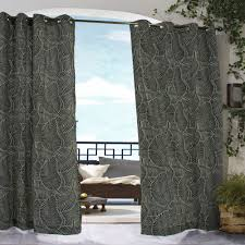 Black Outdoor Curtains Shop Polyester Leaf Pattern With Grommets Black Commonwealth