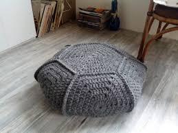 Crochet Ottoman Chunky Wool 26 Stuffed Grey Crochet Pouf Ottoman Gray Crochet