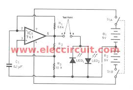 diode tester circuit using ic 741 and led eleccircuit