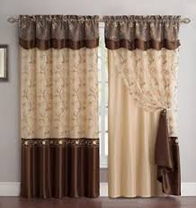 Brown Gold Curtains 4 Pc Brown Gold Floral Window Curtains Panels Drapes Valance Set