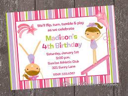 birthday invites exciting gymnastic birthday invitations design
