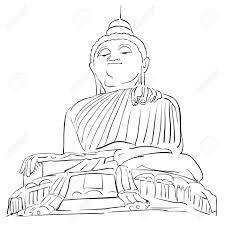 big buddha phuket outline sketch famous tourist lansmark hand