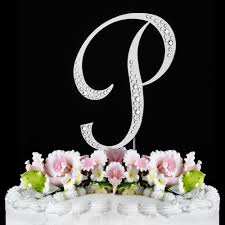wedding cake toppers initials p sparkle silver wf monogram wedding cake toppers