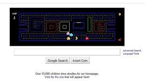 doodle pacman turns homepage logo into a playable of pacman