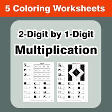 3 digit by 2 digit multiplication coloring worksheets by bios444