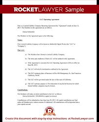 llc operating agreement sample u0026 template