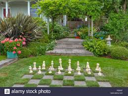 vashon maury island wa over sized chess board in a lawn in a
