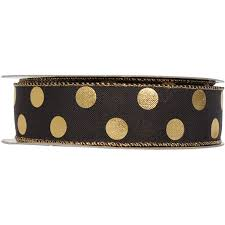 polka dot ribbon black and gold polka dot ribbon roll 25 yards