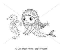 vector cute cartoon mermaid sea horse siren sea theme