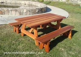 Free Wood Picnic Bench Plans by Lovely Wood Picnic Table With Detached Benches 20 Free Picnic