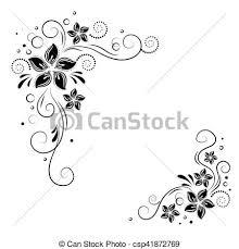 clip vector of floral corner design ornament black flowers on