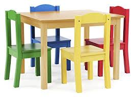 tot tutors table chair set amazon com tot tutors kids wood table and 4 chairs set natural