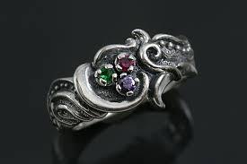 tricolor ring floral motif oxidized silver tricolor cz ring lr 114