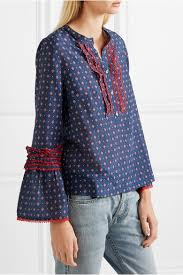 j crew blouses j crew ludwig embroidered printed cotton and silk blend blouse