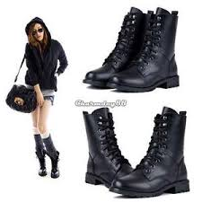 womens size 9 ankle boots uk combat army biker flat lace up worker ankle