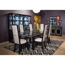 michael amini sky tower rectangular dining table set in black ice