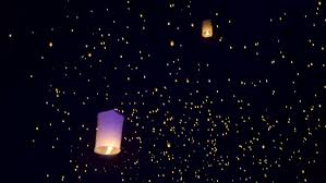 luck lanterns thousands of sky lanterns are released into the sky to wish