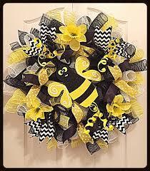 Deco Mesh Halloween Wreath Bumble Bee Daffodil Deco Mesh Wreath Black And Yellow Bumble