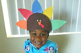 wearing paper plate thanksgiving turkey hat craft from