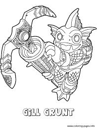 skylanders swap force water series3 gill grunt coloring pages