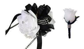 Corsage And Boutonniere Set Colorful Artificial Flower Wedding Bouquet Corsage 2pc Set White