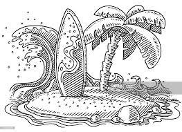 tropical island wave surfboard palm tree drawing vector art