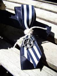 Nautical Themed Ribbon - nautical themed groom or groomsmen boutonniere would be super easy