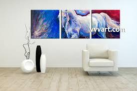 3 piece horse wildlife blue canvas wall art living room art 3 piece canvas wall art horse decor wildlife artwork